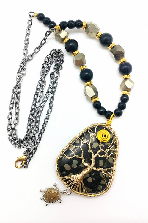 Pirite Turtle Charm Necklace