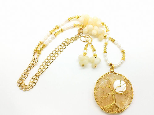 Yellow Crystal Moon Tree Necklace Set
