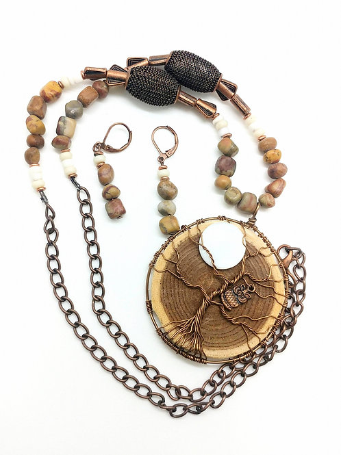 Wood Pebble Necklace and Earring Set