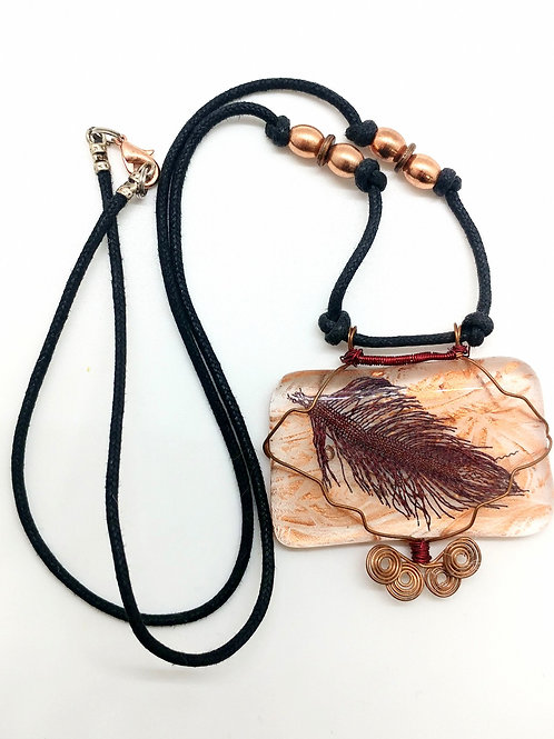 Wire Feather Glass Necklace