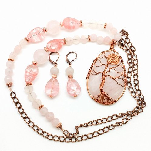 Rose Quartz Necklace & Earrings Set