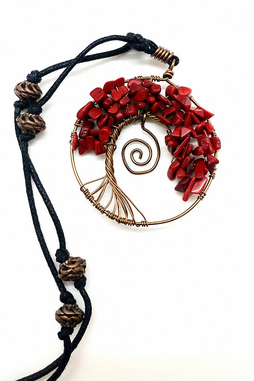 Red Stone Tree Necklace