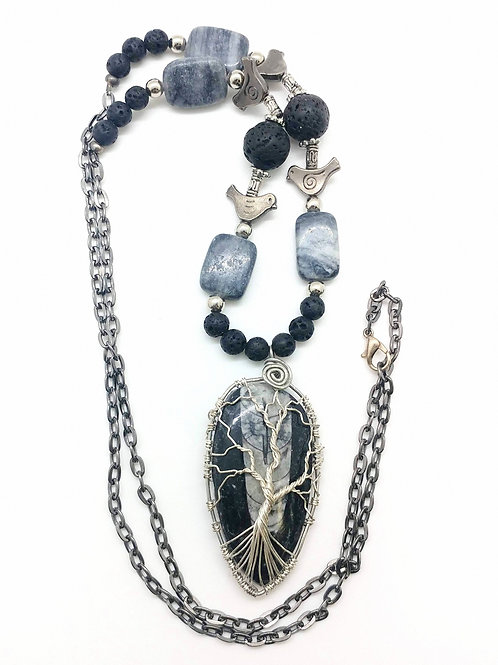 Ammonite Fossil Tree and Bird Necklace