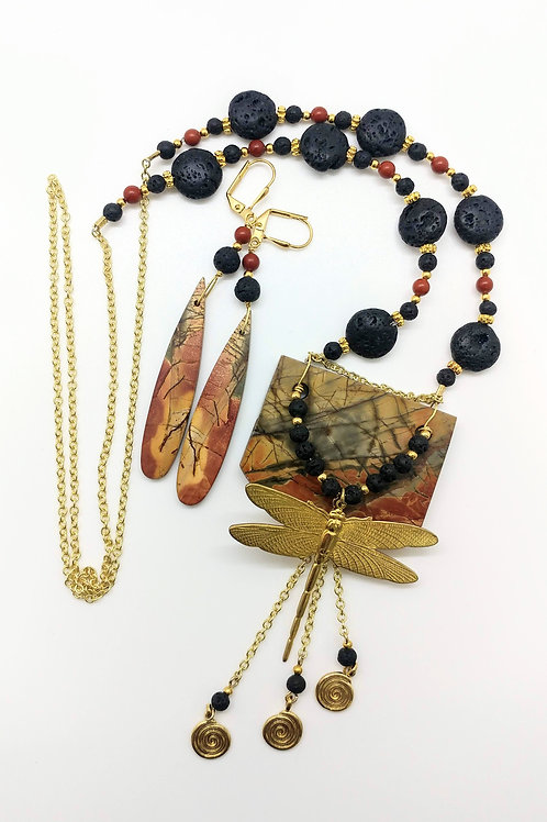 Dragonfly Necklace and Earring Pair