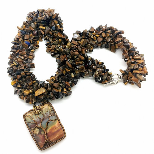 Tiger's Eye and Jasper Chip Tree Necklace