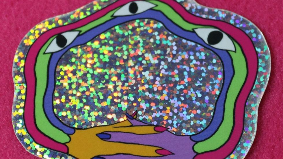 Rainbow Friend Glitter Sticker