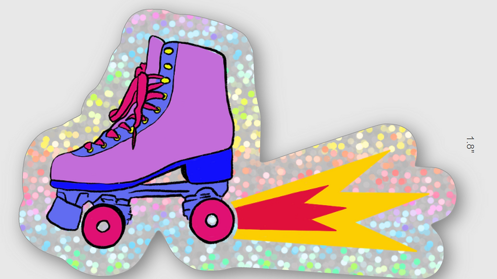 Skate Explosion Sticker with Glitter Background
