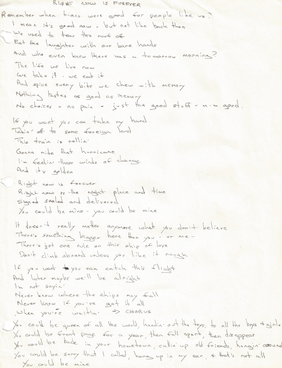 "lyrics ""Right Now is Forever"""