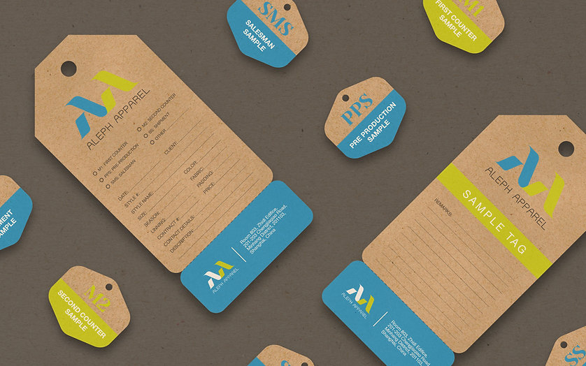 ADDLESS DESIGN STUDIO - ALEPH APPAREL sample tags