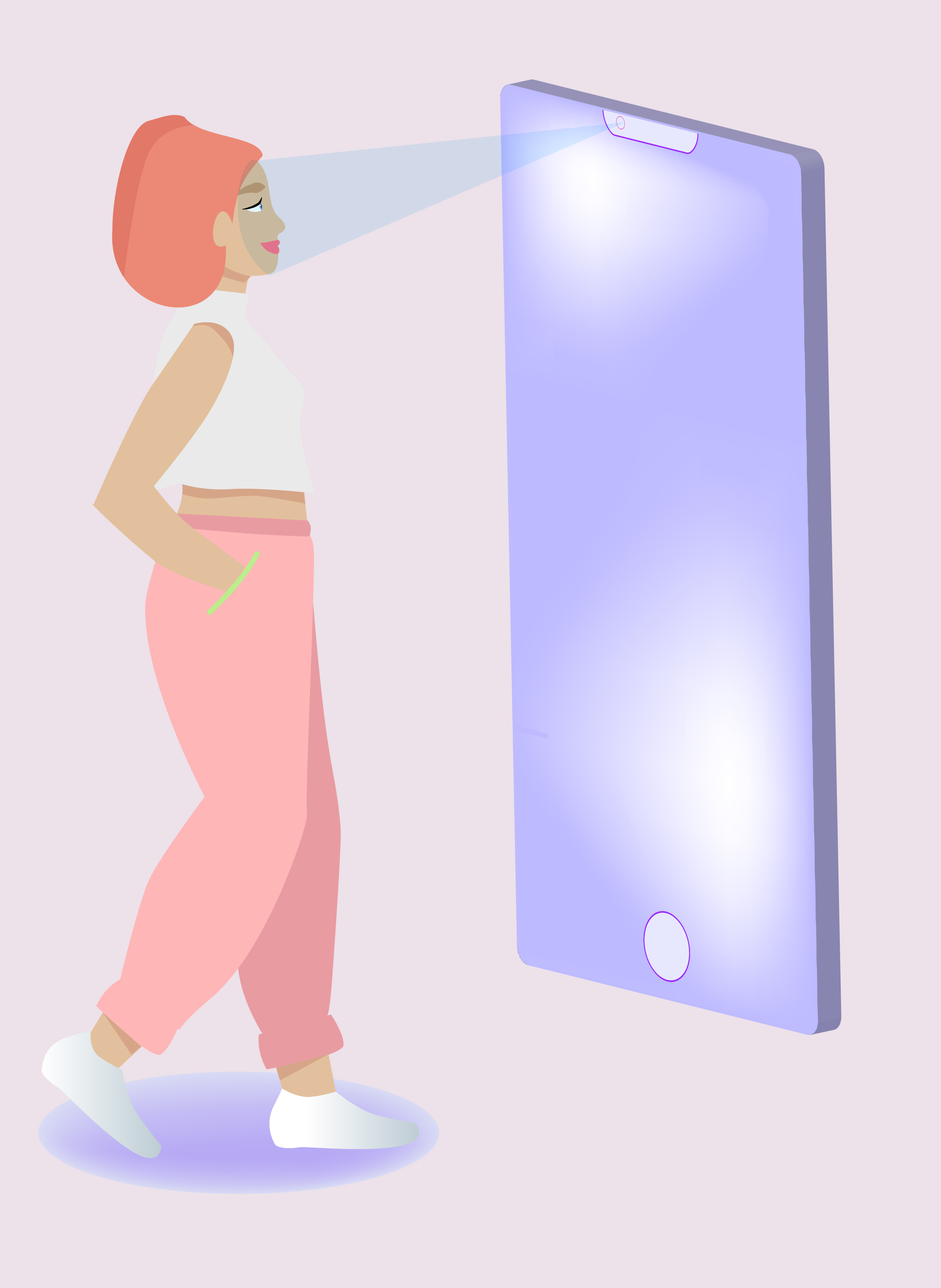 Illustration woman + phone