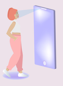 Illustration woman + phone