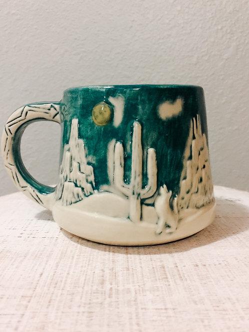 Coyote and Cactus mug candle