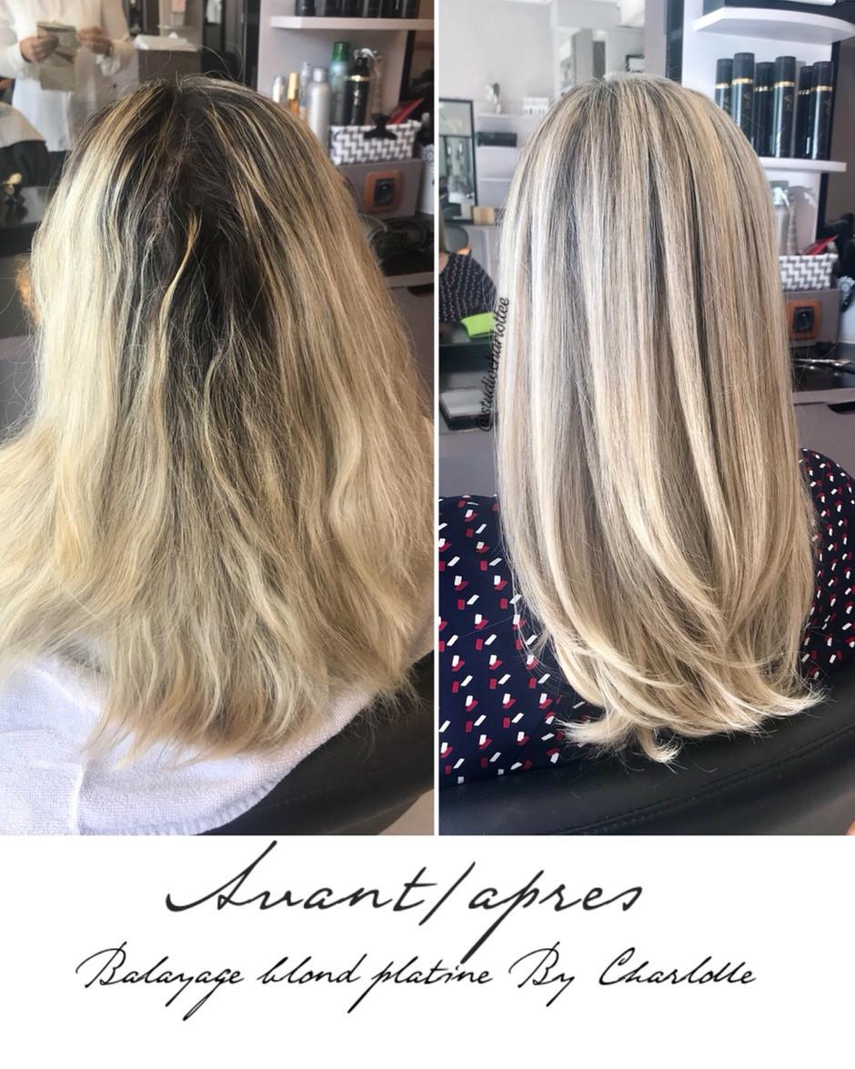 Avant/Après blond platine