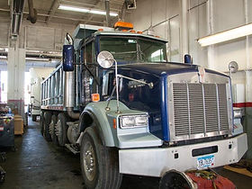 Mac truck getting ready for truck service or repair