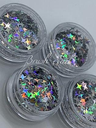 Silver Holographic Stars Glitter