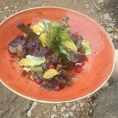 Салат тёплый из куриной печени