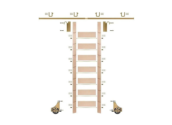 E-Glide Library Ladder Kit No.1 Brass | 92inch ladder & 8ft rail