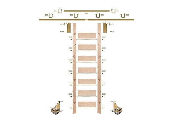 E-Glide Library Ladder Kit No.2 Brass | 92inch ladder & 12ft rail