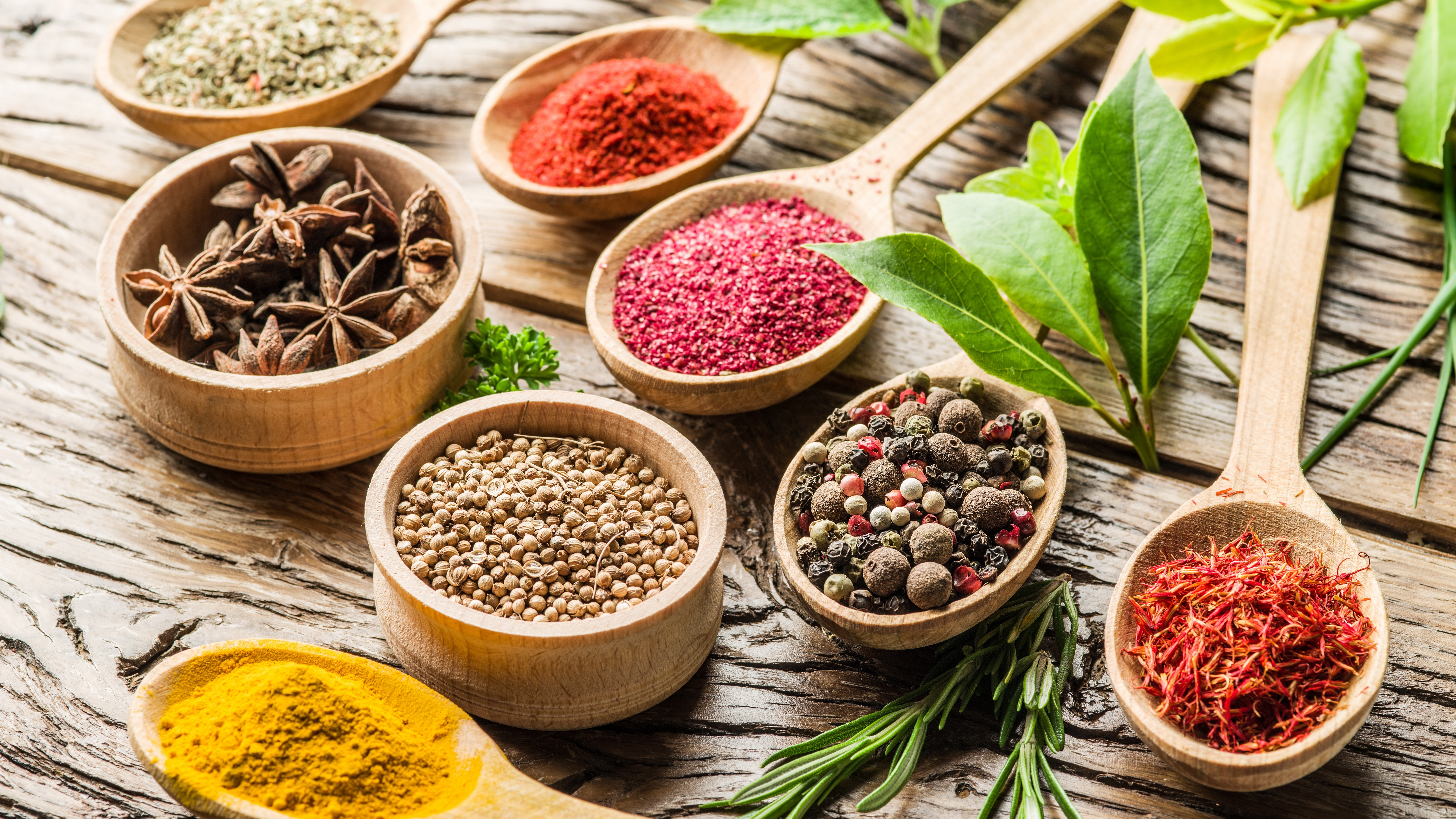 Spices-pepper-anise-star-laurel-turmeric