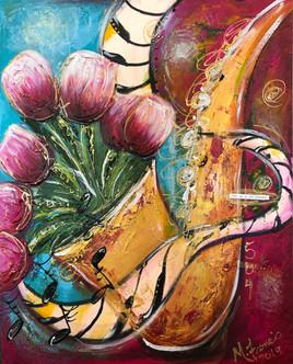 Jazz Sax with Tulips
