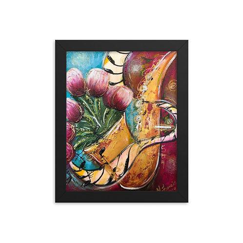 """""""Jazz Sax With Tulips"""" Framed Print"""