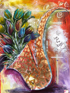 Tulips in Gold Foil Mosaic Sax