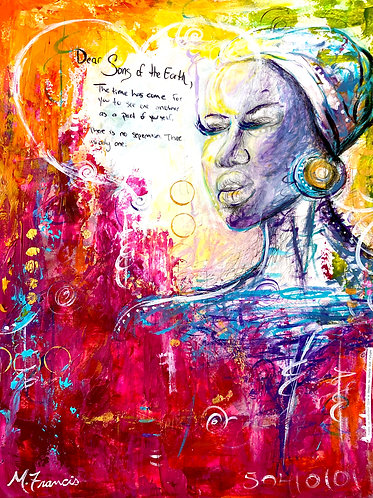 """""""Sons of the Earth"""" Original Painting and Mixed Media Collage"""