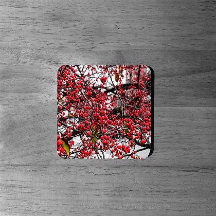 Red Berry Invasion - Cork Coasters