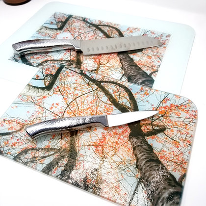 Glass Cutting Board/Serving Platters - Cherry Blossom Tree