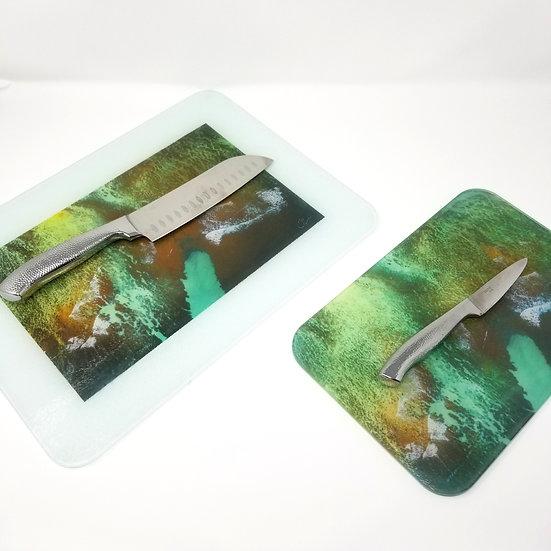 Glass Cutting Board/Serving Platters - Emerald Coast