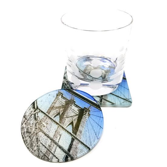 Glass Coaster - Brooklyn Bridge I