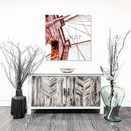 Square Wall Art - Brooklyn Bridge II - Raspberry & Orange