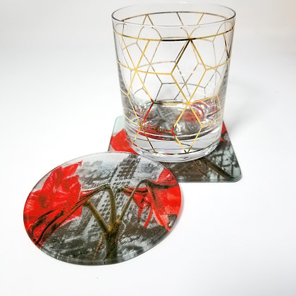 Glass Coaster - Concrete Lilies
