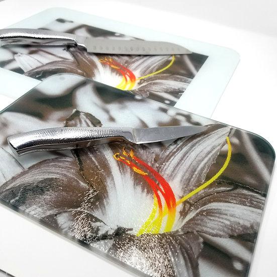 Glass Cutting Board/Serving Platters - Fire Flower