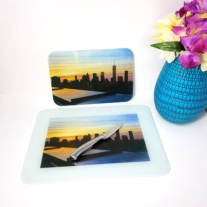 Glass Cutting Board/Serving Platters - NYC Skyline I
