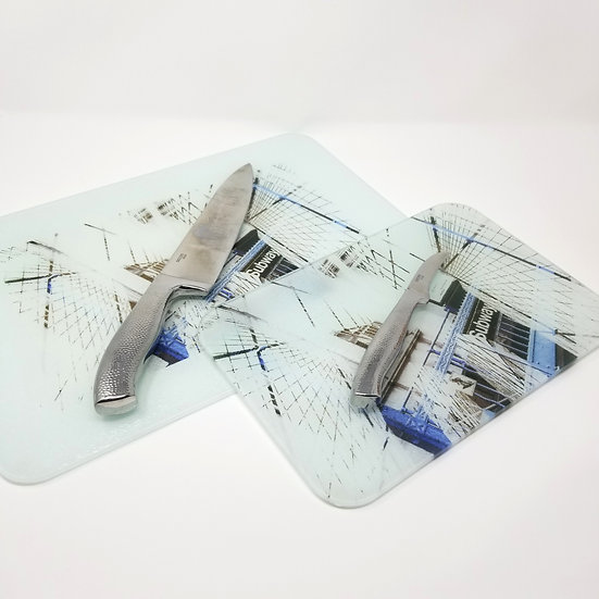 Glass Cutting Board/Serving Platters - Brooklyn Bridge Inception I