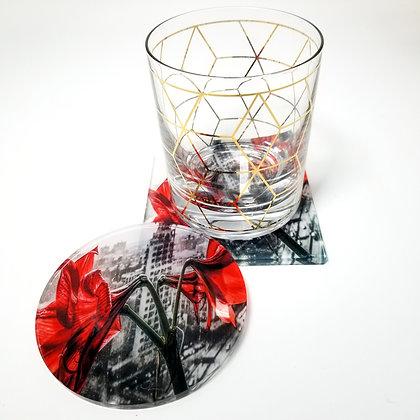 Acrylic Coaster - Concrete Lilies