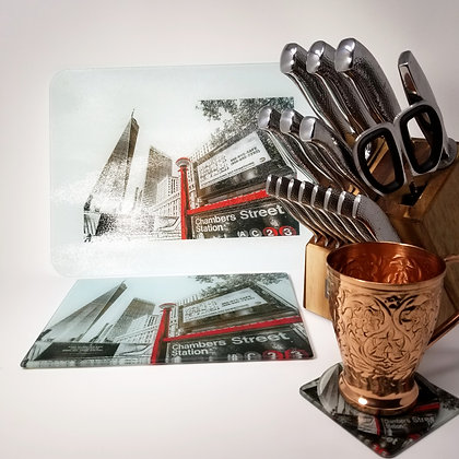 Glass Cutting Board/Serving Platters - Freedom Tower II