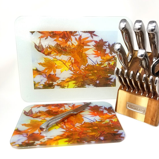 Glass Cutting Board/Serving Platters - Fall During Summer