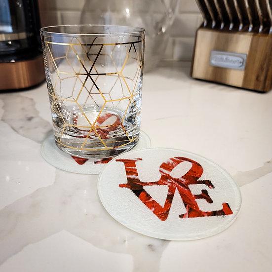 Glass Coaster   LOVE