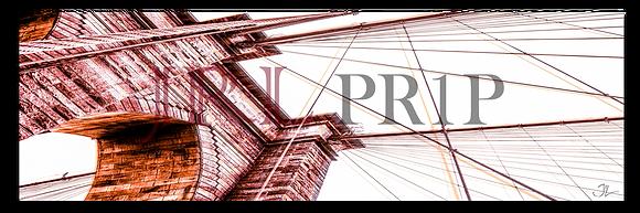 Panoramic Wall Art - Brooklyn Bridge II - Raspberry & Orange