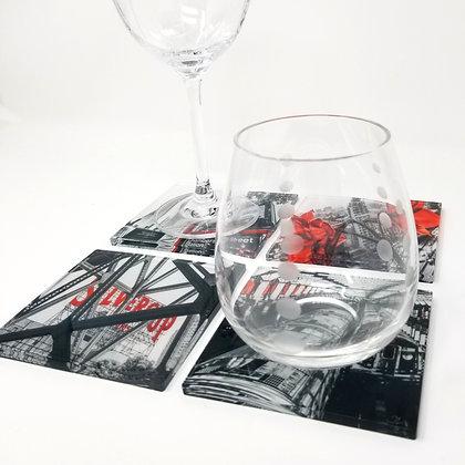Variety Acrylic Coaster Set - Retro Red