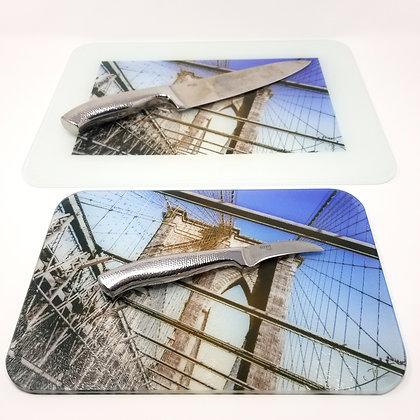 Glass Cutting Board/Serving Platters - Brooklyn Bridge I