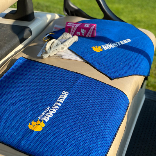 Powered by Boosters Golf Towel Swag