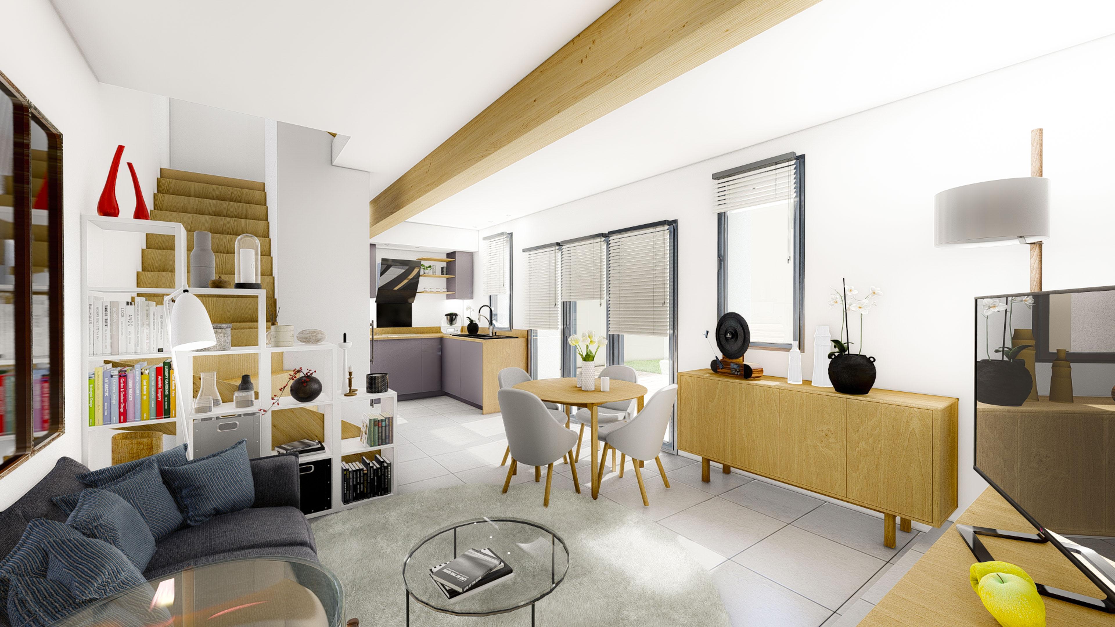Mise en scène 3D intérieur petit salon