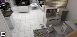 coin jeux dans pièce de vie en 3D