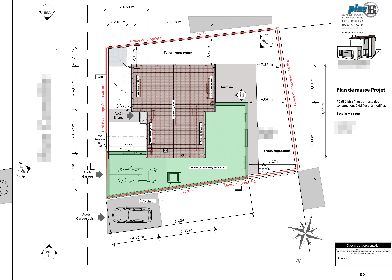 Permis de construire plan b pc lyon 69 69400 42 71 - Plan de masse maison individuelle ...