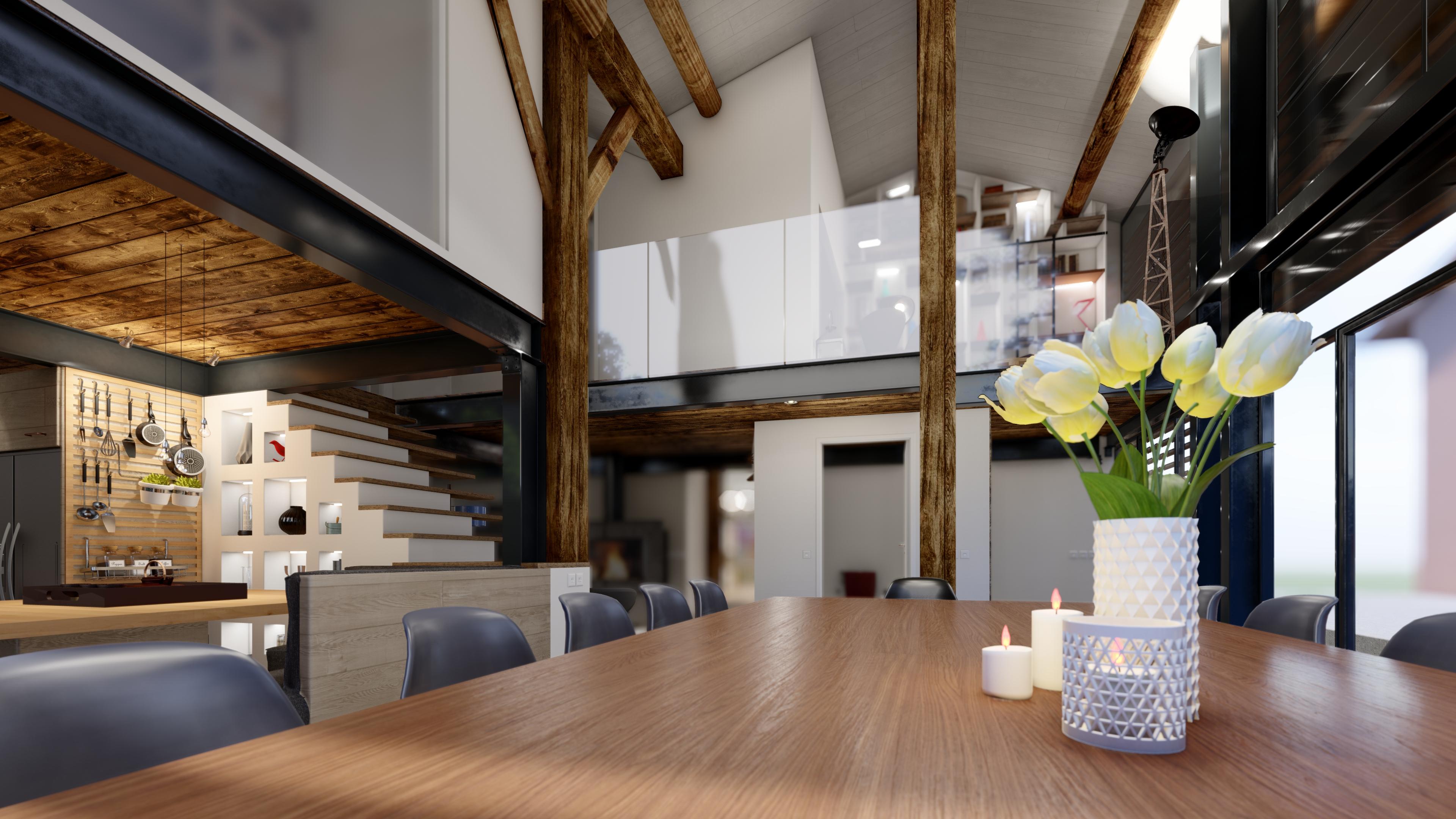 salle à manger et mezzanine