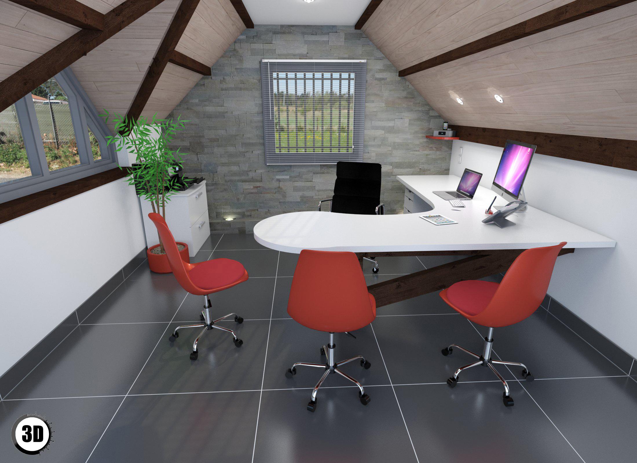 Bureau sous comble - 3D