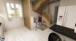 Salon escalier bois 3D Quincieux